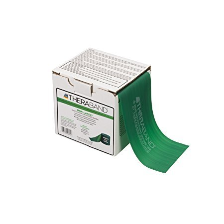 DSS Thera-Band Professional Resistance Bands 25-yard Box, Latex Free (Green Resistance Level 3)