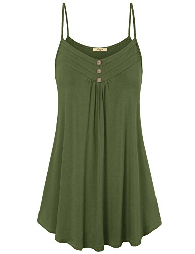 Viracy Flowy Tank Tops for Women, Maternity Tunic Cotton Cami Halter Top Juniors Trendy Summer Outfits Loose Casual Pleated Flowy Sleeveless Camisole Plus Size Army Green XXL st Patricks Day - Maternity Halter Top