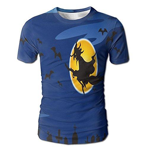 HenSLK Men's Summer Halloween Witch Castle Casual Novelty Crew Neck Short Sleeve Tee Shirt Gift ()