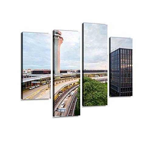 Air Traffic Control Tower Canvas Wall Art Hanging Paintings Modern Artwork Abstract Picture Prints Home Decoration Gift Unique Designed Framed 4 Panel