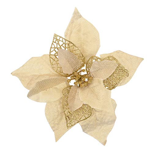 Sunm boutique Pack of 12 Glitter PoinsettiaChristmas Tree Houseplant Ornament