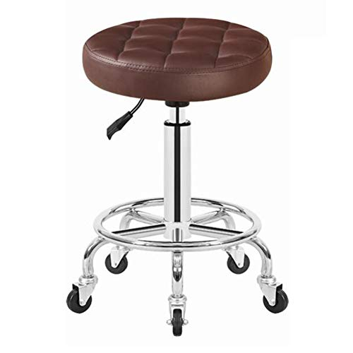 Dall Salon Bar Stool Round Swivel Stool Upholstered Height Adjustable Office Studio Beauty Pub 48-60cm (Color : Brown)