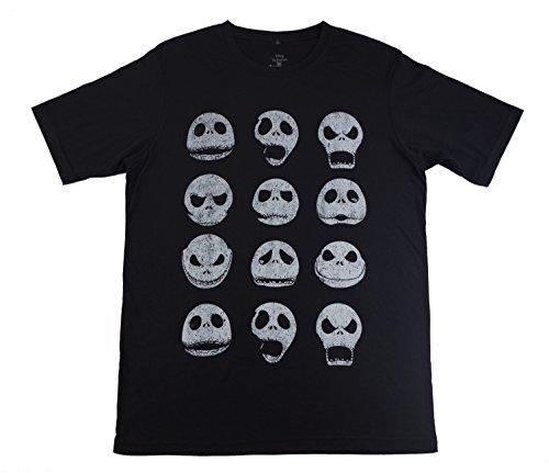 Jack Skellington Tshirt Jack Faces Men's/Adult Licensed Tshirt, Black (Jack Skellington Clothing)