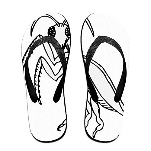 Redeast Thong Flip Flops- Black Mantis Comfortable and Lightweight Sandals Beach Shoes and Shower Shoes