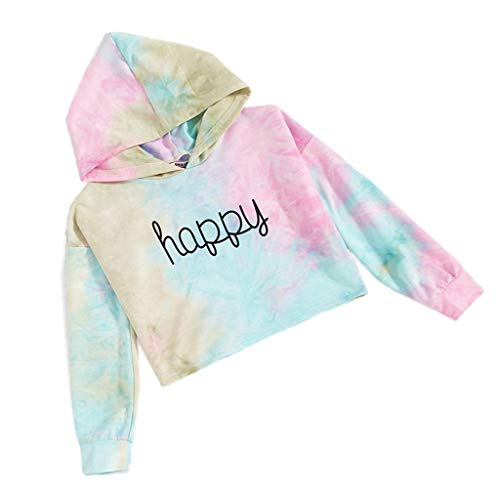 Girls Hoodie Long Sleeve Sweatshirt Baby Blouse Casual Hooded Letter Print Pullover Crop Tops