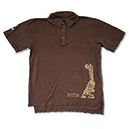 Led Zeppelin Stairway to Heaven Image Brown Polo Shirt Distressed