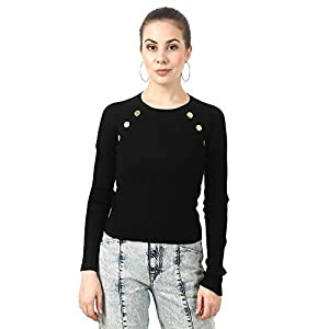 MansiCollections Women's Viscose Round Neck Ribbed Knit 3 Button Black Sweater