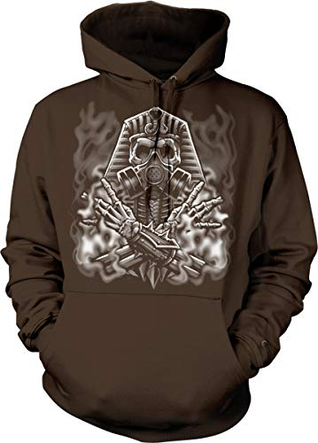 Skeleton Gas Mask (Hoodteez Egyptian Skeleton with Gas Mask Hooded Sweatshirt, L)