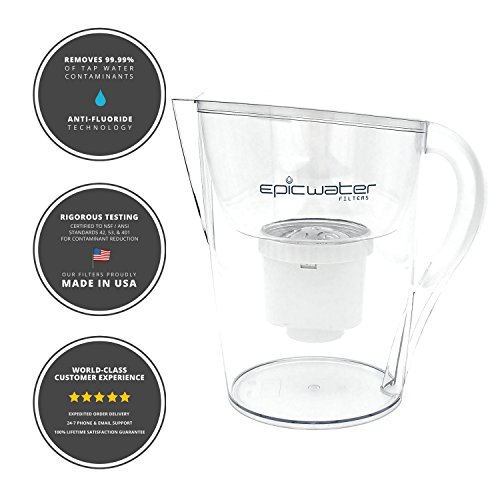 Epic Pure Water Filter Pitcher | 100% BPA-Free | Removes Fluoride, Lead, Chromium 6, PFOS PFOA, Heavy Metals, Microorganisms, Pesticides, Chemicals, Industrial Pollutants & More | 3.5L (white) - Epic Materials
