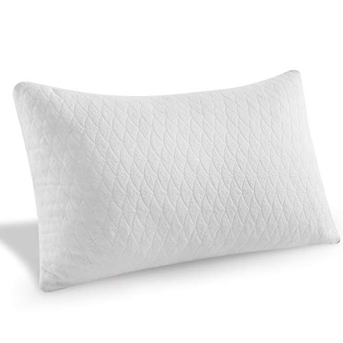MoMA Premium Adjustable Shredded Memory Foam Bed Pillow - Queen Pillow 20x30 - Soft Bamboo Fiber - Breathable Pillow with Bamboo Fiber Pillow Cover Included