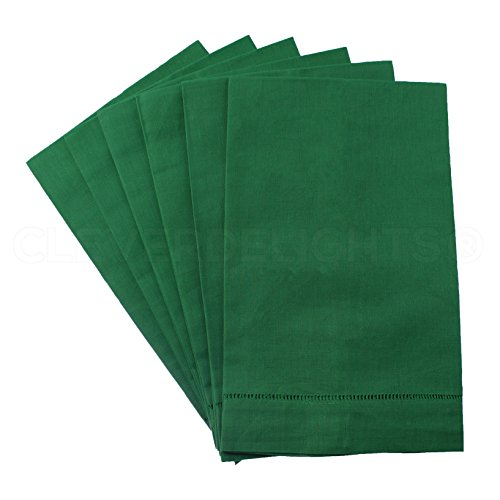 6 Pack - CleverDelights Green Linen Hemstitched Hand Towels - 14