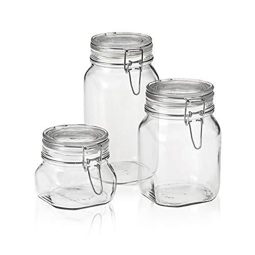 Bormioli Rocco Fido Canning Jar, Set of 3 (17.5 oz,33.75 oz,50.75 oz.)