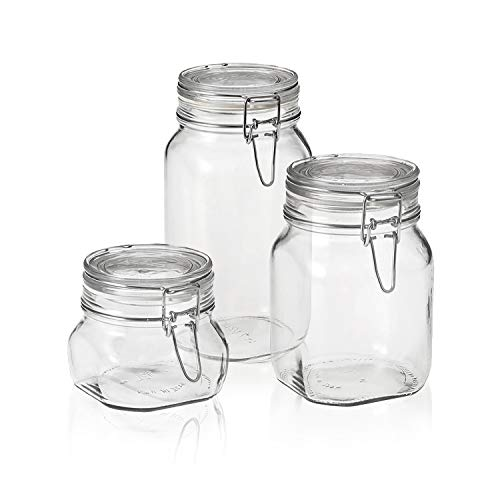 Bormioli Rocco Fido Canning Jar, Set of 3 (17.5 oz,33.75 oz,50.75 -
