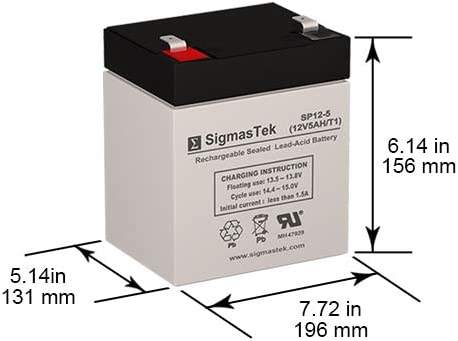 6FM4.5 12 Volt 5 AmpH SLA Replacement Battery with F1 Terminal