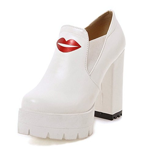 Aisun Sexy Sexy Rode Lippen Platform Slip Op Ronde Neus Jurk Dikke Hoge Hakken Pumps Schoenen Wit