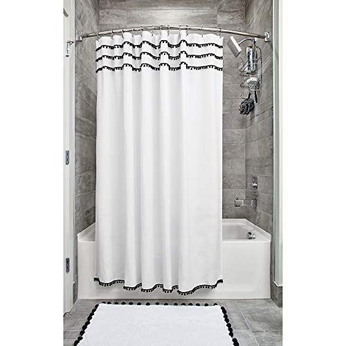 InterDesign Pom Pom Fabric Shower Curtain, Modern Mildew-Resistant for Master, Guest, Kids' Bathrooms, Bathtubs, Stalls, 72