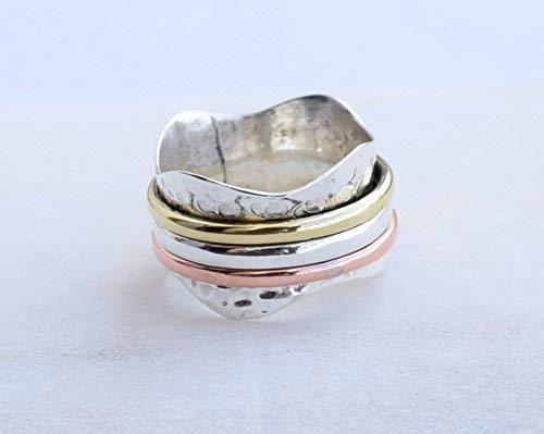 Yoga maditation ring Handmade Ring For Girl Women Size 6 7 8 9 10 11 12 Star Spinner Spin Ring
