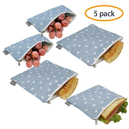 Reusable Sandwich Bags Snack Bags - Set of 5 Pack, Dual Layer Lunch Bags with Zipper, Dishwasher Safe, Eco Friendly Food Wraps, BPA-Free. - Zipper Sandwich Reusable
