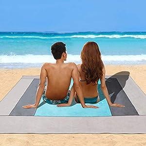 Telo Mare Antisabbia (220 x 200 cm) Minetom Coperta da Spiaggia Sand Free Telo Spiaggia Impermeabile Tappetino Mare… 2 spesavip