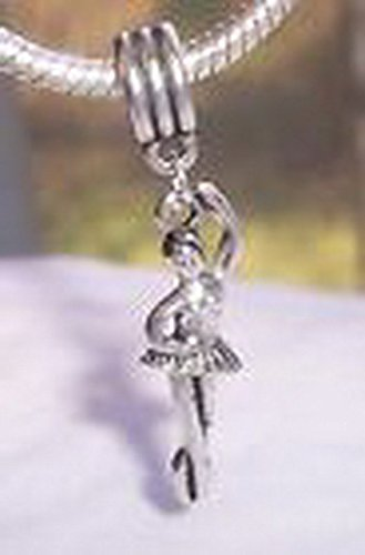 [Beads Hut - Ballet Dancer Ballerina Gift Dance Dangle Bead for European Style Charm Bracelet] (Aztec Dancers Costumes)