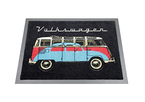 BRISA VW Collection VW T1 Bus & Beetle Doormat, 70x50cm - Black