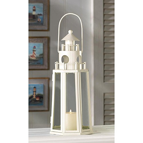Candleholders Lanterns Lighthouse Candle Lantern Candleholder Ivory Metal Watchtower Table -