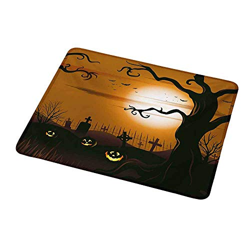 Gaming Mouse Pad Customized Halloween,Leafless Creepy Tree with Twiggy Branches at Night in Cemetery Graphic Drawing,Brown Tan,Custom Design Gaming Mouse Pad 9.8