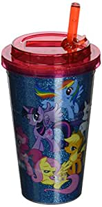 Silver Buffalo MLP2184G Hasbro My Little Pony Friendship is Magic Glitter Plastic Flip Straw Cold Cup, 16-Ounces