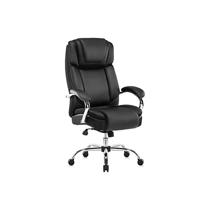 41K%2Bz0Nt9uL Haz clic aquí para comprobar si este producto es compatible con tu modelo Silla de oficina de piel regenerada: la silla ejecutiva grande y alta de Yamasoro fue diseñada para tu comodidad. La silla tiene acolchado suave y grueso y borde del asiento en cascada para menos presión en la parte posterior de tus piernas para que puedas mantenerte cómodo incluso cuando tengas que sentarte durante horas Comodidad para tu productividad: diseño ergonómico de silla de oficina con cojines de doble capa para sillas. Asiento de resorte de bolsillo de alta elasticidad. Cojín de silla de escritorio 30 ~ 50% más grueso que el asiento normal. Una silla de oficina y respaldo con reposacabezas contorneado grueso. Comodidad continua para largas horas de juego o trabajo. Mayor densidad, mejor elasticidad, mayor resistencia. Combinación perfecta para tu mesa de juego y escritorios de ordenador