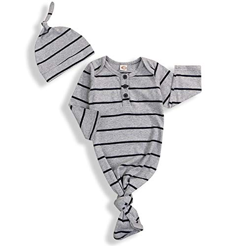 Newborn Baby Boy Girl Sleeper Gowns,Unisex Striped Sleeping Bags Swaddle Sack Coming Home Outfit 0-6 Months (Gray, 0-6 Months)