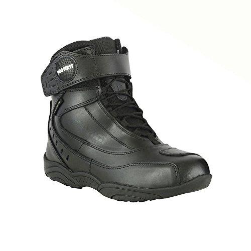 EU 47 ProFirst Echtes Leder Motorrad gepanzertes Aufladungen Motorrad-kurzes Kn/öchel-Schutzstiefel Schuhe Anti Rutsch Sports Schwarz Black