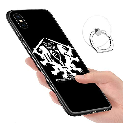 (iPhone Xs Max Case,Tempered Glass Pattern Painted Henley Studios Official Logo tee Dark tees Bumper Cover for iPhone Xs Max)