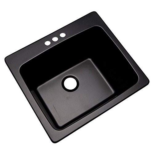 Thermocast 32399NSC Wakefield Composite Utility Sink with Three Holes 25-Inch Black Natural Stone