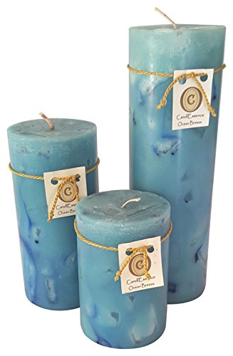 (Handmade Scented Candle - Long Burning Pillar - Ocean Breeze Scent (Set of 3))