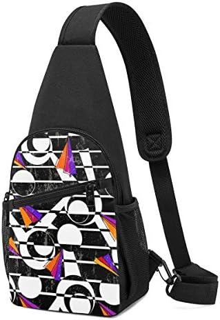 幾何学のパターン 斜め掛け ボディ肩掛け ショルダーバッグ ワンショルダーバッグ メンズ 多機能レジャーバックパック 軽量 大容量