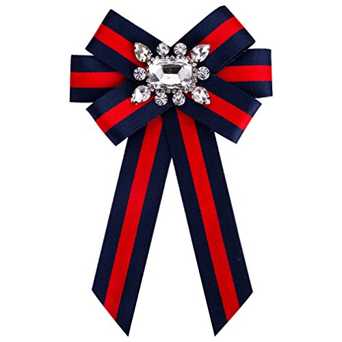 Fashion Women Pre-Tied Neck Tie Rhinestone Crystal Brooches Pin Clip Ribbon Wedding Party ByCajoy (Red+Blue2)