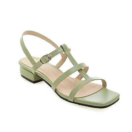 Women Sandals Simple Solid Colors Summer Shoes Square Low Heels Dress Party Wedding Shoes Woman,Green,14