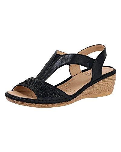 Cotton schwarz verziert Schuhe T Damen Sandalen Damen E Fit Bar Traders rqvtr