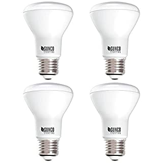 Sunco Lighting 4 Pack BR20 LED Bulb, 7W=50W, Dimmable, 3000K Warm White, E26 Base, Flood Light for Home or Office Space - UL & Energy Star