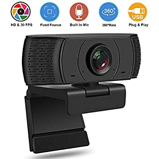 Chalpr Webcam 1080P Full HD, Auto Focus Face Camera with Dual Microphone for PC, Laptops, Desktop and Gaming, USB Computer Web Camera