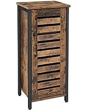 VASAGLE LSC35BX stolik pomocniczy, mała szafka boczna, szafka kuchenna, korytarz z z drzwiami lamelowymi, do salonu, sypialni, biura, styl przemysłowy, vintage, ciemnobrązowa