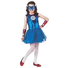 Rubies Costume Marvel Universe Classic Collection Girls Captain America, Child Large
