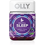 OLLY Restful Sleep Gummy Supplement, with MELATONIN & L-Theanine, Chamomile; supports a healthy sleep cycle*; Blackberry Zen; 50 count, 25 day supply (packaging may vary)