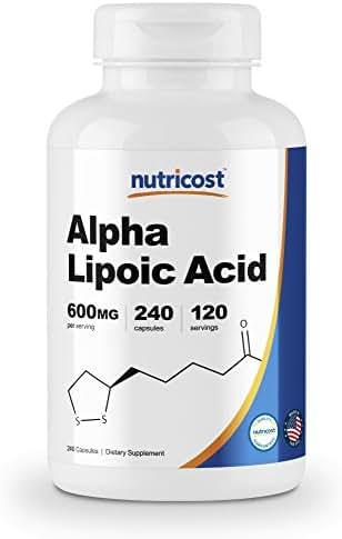 Nutricost Alpha Lipoic Acid 600mg Per Serving, 240 Capsules - Gluten Free & Non-GMO