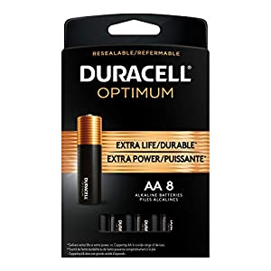Duracell Optimum AA Batteries | 8 Count Pack | Lasting Power Double A Battery | Alkaline AA Battery Ideal for Household and Office Devices | Resealable Package for Storage