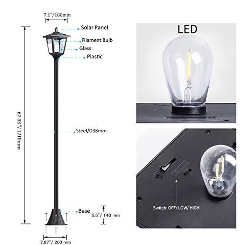 "67"" Solar Lamp Post Lights Outdoor, Solar Powered Vintage Street Lights for Garden, Lawn, Pathway, Driveway, Front/Back Door"