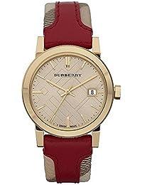 BU9111 Womens Swiss Haymarket Check Fabric & Red Leather Band watch