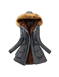 XILALU Womens Warm Long Coat Fur Collar Hooded Jacket Slim Winter Parka Outwear Coats