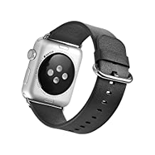 Mifa Apple Watch Series 1 and 2 Band Genuine Premium Grade Leather Bands Multiple Colors: Black, Blue, and Brown - Leather Strap W/ High Quality Stainless Steel Clasp for Apple Watch-42mm Black