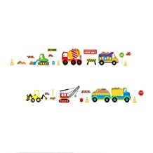 SODIAL(R) Digger building construction truck Cars stickers wall decals kids bedroom diy